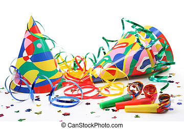 Party hats, paper streamer and whistles isolated on white...