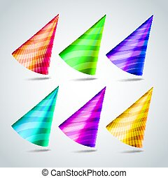 Party Hats Set Vector. Birthday Party Event Elements ...