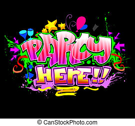 Party Here. Colorful vector invitation background