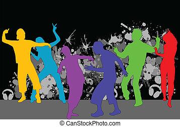 party, hintergrund, grunge, -