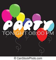 party,  -, hintergrund, luftballone