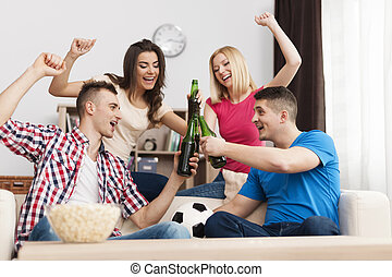 Party home after winning their favorite soccer team