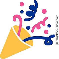 Party horn symbol confetti