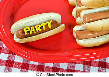 party hot dogs - Party hot dogs on red platter.