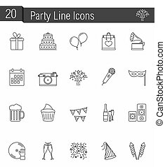 Party Icons - 20 party line icons, vector eps10 illustration