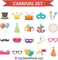 Party icons, design element, flat style. Carnival accessories, props, isolated on white background. Masquerade Collection. Vector illustration, clip art.