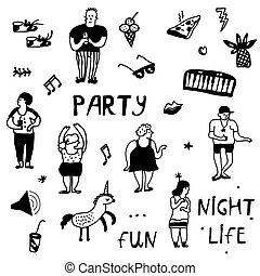 Party icons doodle set