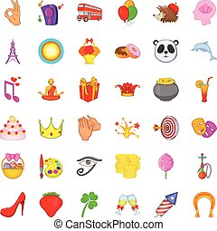 Party icons set, cartoon style