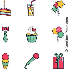 Party icons set, flat style