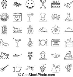 Party icons set, outline style
