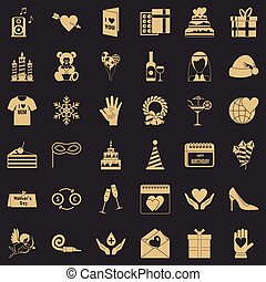 Party icons set, simple style