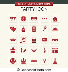 Party icons set vector