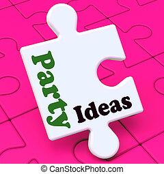 party, ideen, puzzel, zeigen von überraschung, feier, planung, suggestions