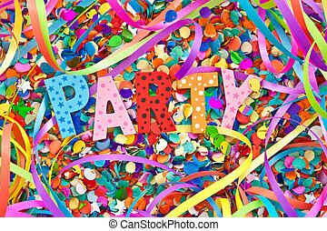 Party in colorful wooden characters on background made of...