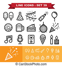 Party ine icons set 39 - Prty line icons set 39.Illustration...