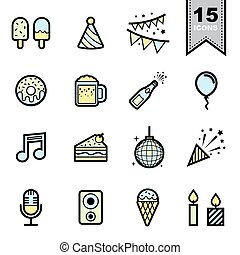 Party ine icons set - Party line icons set.Illustration eps...