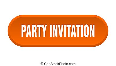 party invitation button. rounded sign on white background