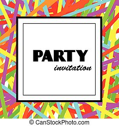 Party invitation design template with colorful ribbons