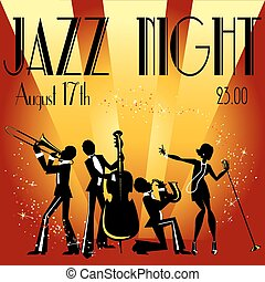 Abstract jazz band, Jazz music party invitation design, Vector illustration with sample text