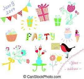 Party invitation for kids design elements