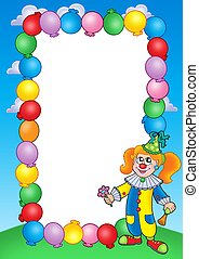 Party invitation frame with clown 1 - color illustration.