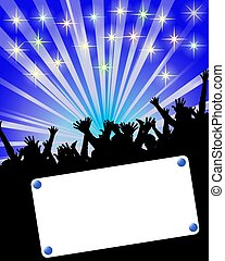 party invitation placard blue