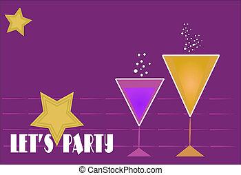 party invitation retro style