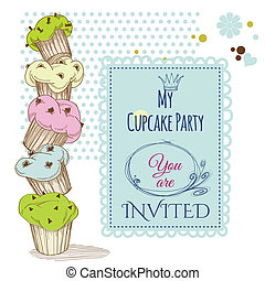 Party invitation stack of cupcakes design