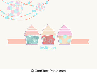 Party invitation with a light and cupcakes