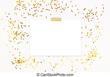 Party invite mockup scene with golden star shape glittering confetti and taped blank paper list. White background. Top view