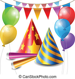 Party item set containing hats, horns, balloons and party...