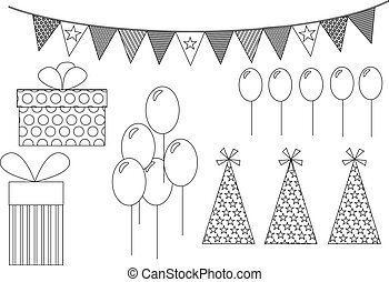 Party items line drawing