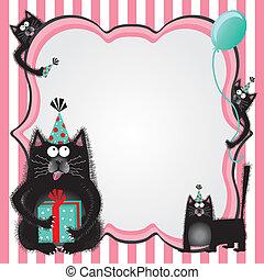 party, katz, geburstag, katzenkinder, einladung