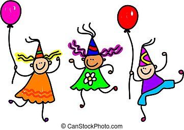 Three happy little kids wearing party hats and holding balloons.