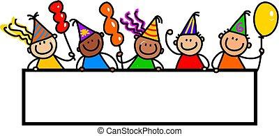 party, Kinder,  Banner