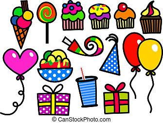 party, Kinder,  doodles