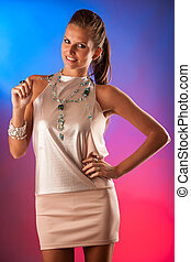 Party lady - beautiful woman over colorful background