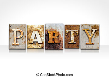 Party Letterpress Concept Isolated on White
