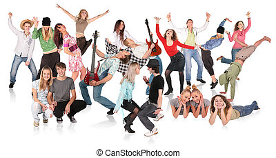 party, leute, gruppe, tanzen