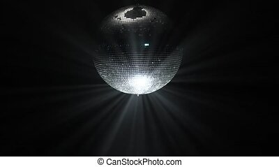 Party lights disco ball on black background