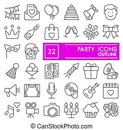 Party line icon set, celebration symbols collection, vector sketches, logo illustrations, entertainment signs linear pictograms package isolated on white background, eps 10.