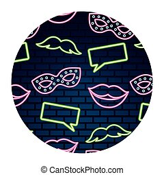 party lips mustache neon brick wall