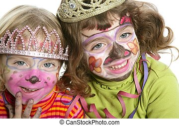 party little two sisters with painted happy face