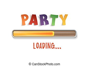 Party loading poster template isolated on white.