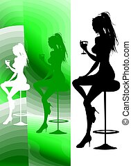 Party lounge Cocktai - A silhouette of a nice girl drinking...