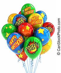 party, luftballone, aus, weißes