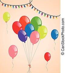 party, luftballone, bunte, lichter