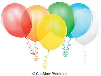 party, luftballone, gefärbt