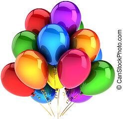 party, luftballone, gefärbt, regenbogen