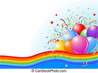 party, luftballone, hintergrund